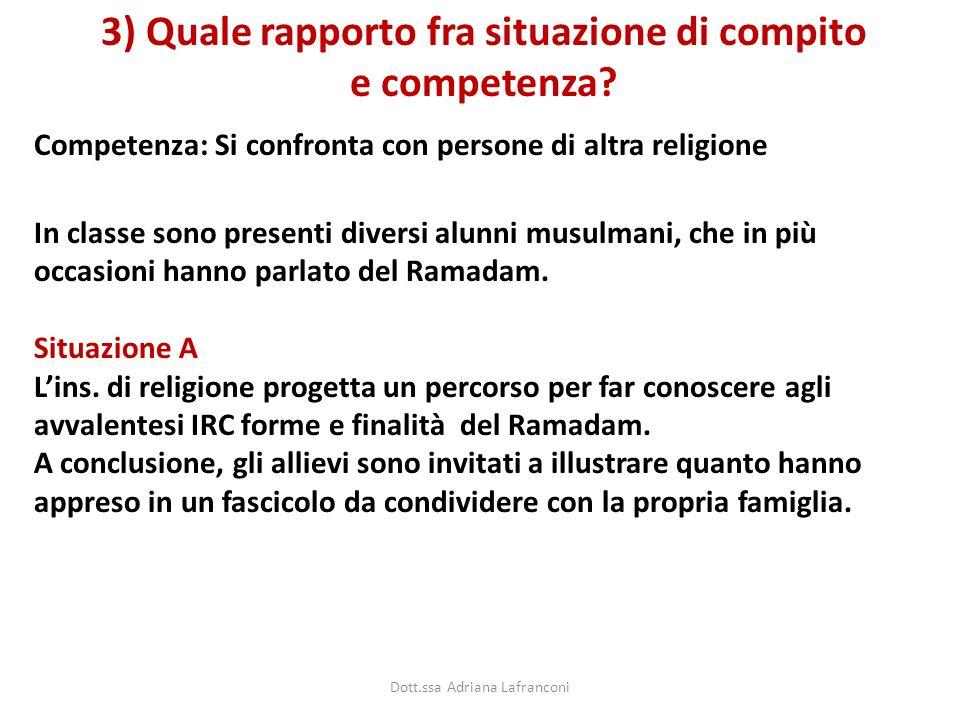 Competenza: Si confronta con persone di altra religione 3) Quale rapporto fra situazione di compito e competenza? In classe sono presenti diversi alun