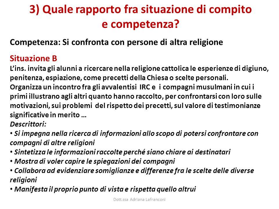 Competenza: Si confronta con persone di altra religione 3) Quale rapporto fra situazione di compito e competenza? Situazione B Lins. invita gli alunni