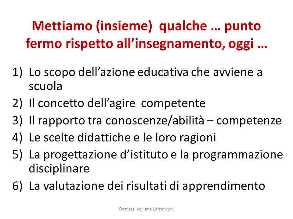 Mettiamo (insieme) qualche … punto fermo rispetto allinsegnamento, oggi … 1)Lo scopo dellazione educativa che avviene a scuola 2)Il concetto dellagire