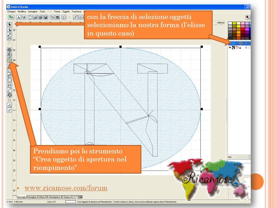 con la freccia di selezione oggetti selezioniamo la nostra forma (lelisse in questo caso) Prendiamo poi lo strumento Crea oggetto di apertura nel riem
