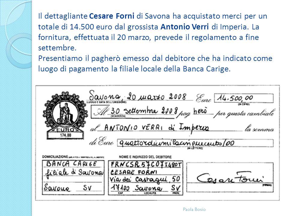 Il dettagliante Cesare Forni di Savona ha acquistato merci per un totale di 14.500 euro dal grossista Antonio Verri di Imperia. La fornitura, effettua