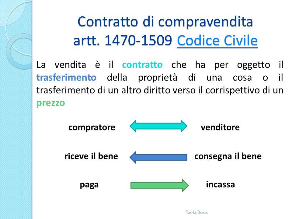 Contratto di compravendita artt. 1470-1509 Codice Civile Codice CivileCodice Civile La vendita è il contratto che ha per oggetto il trasferimento dell