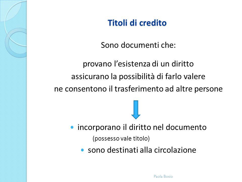 Titoli di credito Sono documenti che: provano lesistenza di un diritto assicurano la possibilità di farlo valere ne consentono il trasferimento ad alt