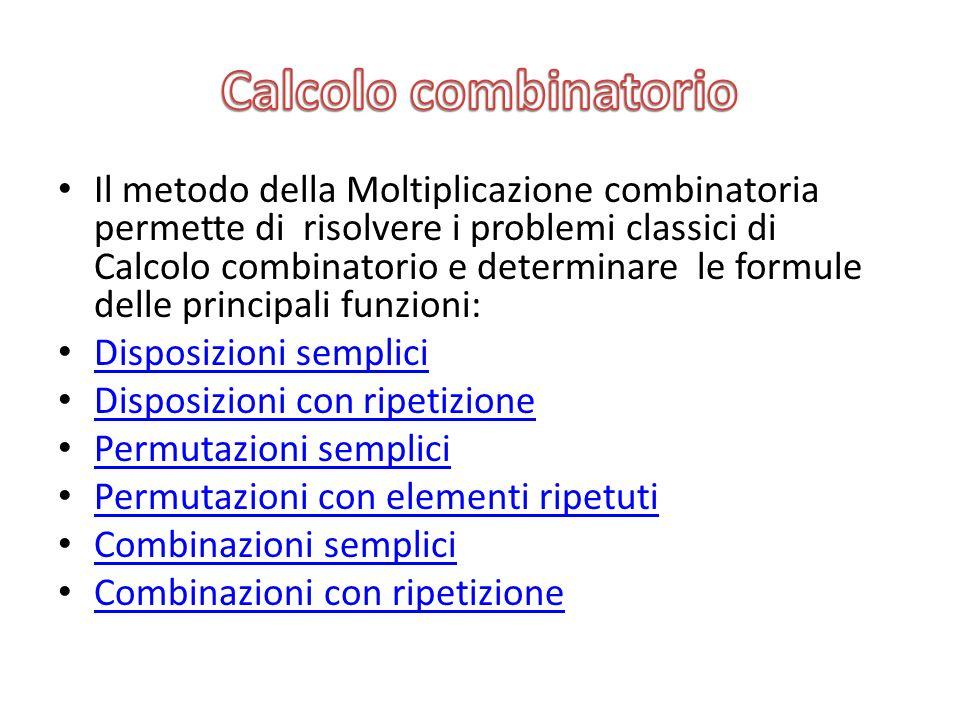 Il metodo della Moltiplicazione combinatoria permette di risolvere i problemi classici di Calcolo combinatorio e determinare le formule delle principa
