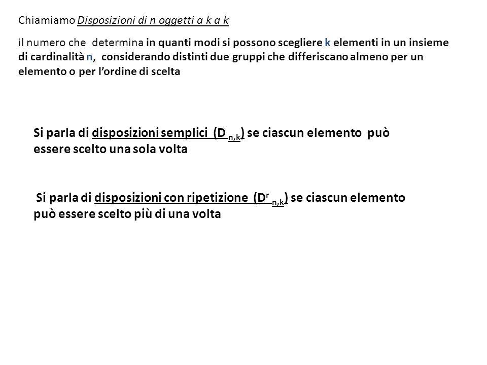 Si parla di disposizioni semplici (D n,k ) se ciascun elemento può essere scelto una sola volta Si parla di disposizioni con ripetizione (D r n,k ) se
