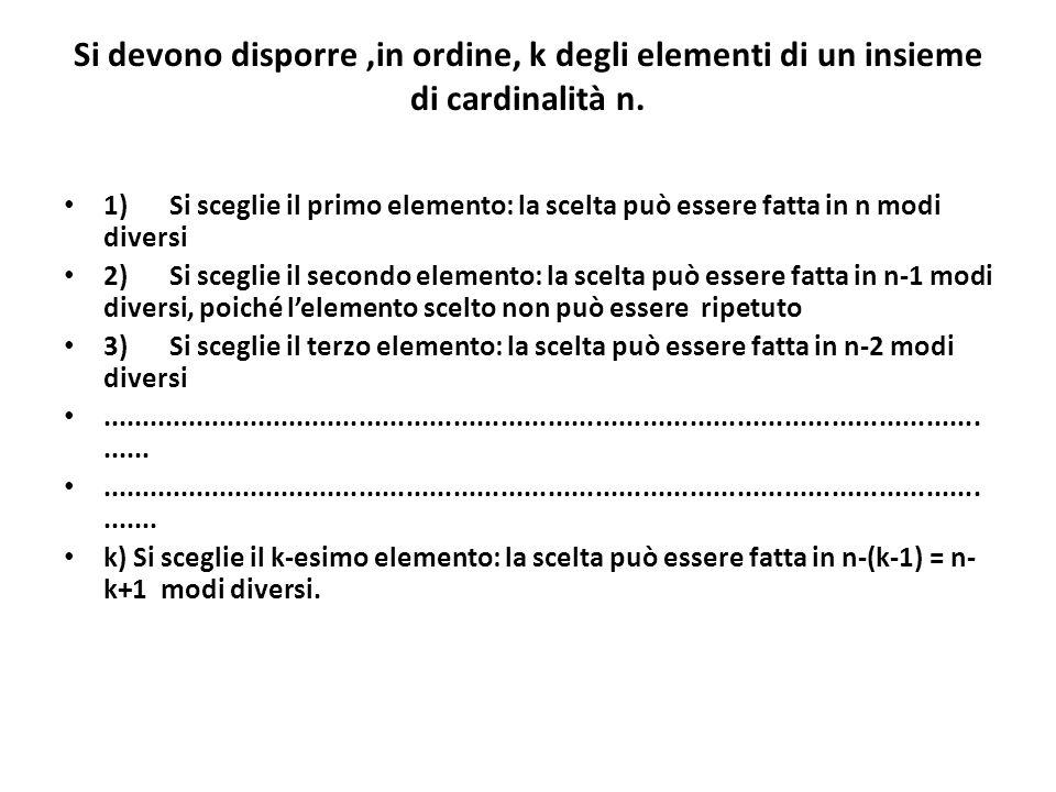 Si devono disporre,in ordine, k degli elementi di un insieme di cardinalità n. 1)Si sceglie il primo elemento: la scelta può essere fatta in n modi di