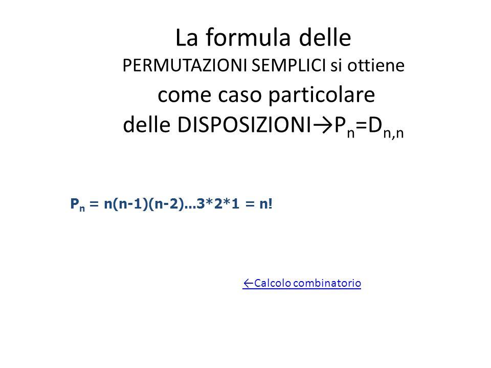 La formula delle PERMUTAZIONI SEMPLICI si ottiene come caso particolare delle DISPOSIZIONIP n =D n,n P n = n(n-1)(n-2)...3*2*1 = n! Calcolo combinator