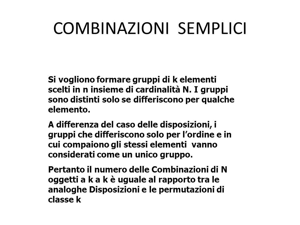 COMBINAZIONI SEMPLICI Si vogliono formare gruppi di k elementi scelti in n insieme di cardinalità N. I gruppi sono distinti solo se differiscono per q