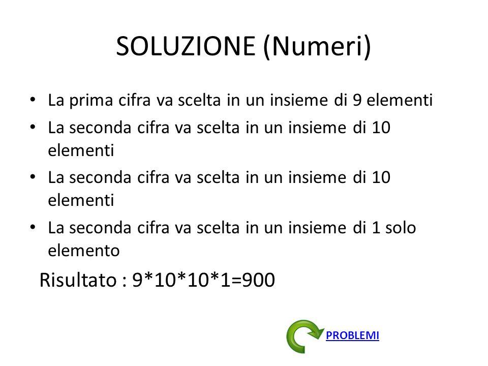 SOLUZIONE (Numeri) La prima cifra va scelta in un insieme di 9 elementi La seconda cifra va scelta in un insieme di 10 elementi La seconda cifra va sc