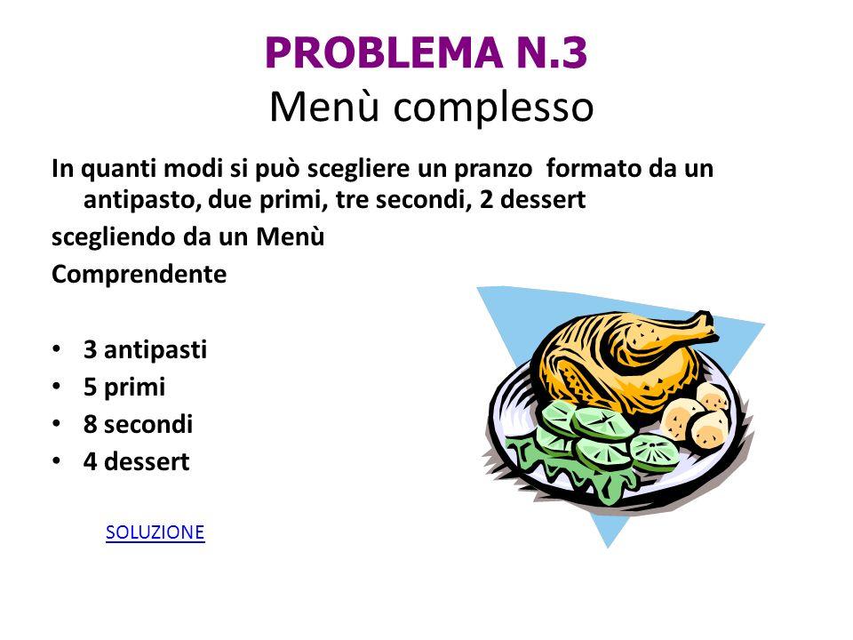 PROBLEMA N.3 Menù complesso In quanti modi si può scegliere un pranzo formato da un antipasto, due primi, tre secondi, 2 dessert scegliendo da un Menù