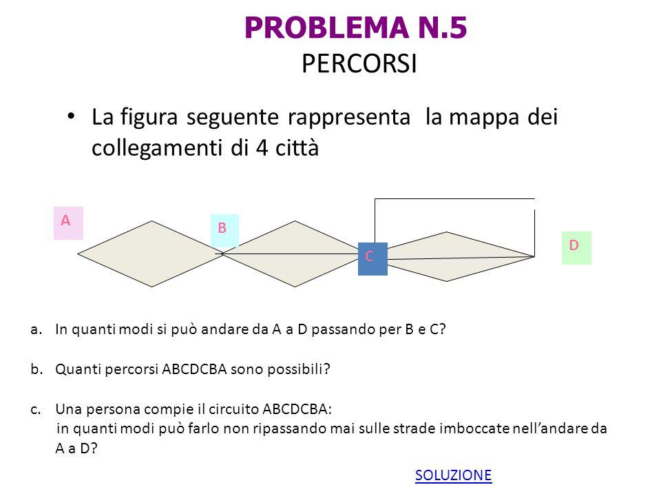 PROBLEMA N.5 PERCORSI La figura seguente rappresenta la mappa dei collegamenti di 4 città A B C D a.In quanti modi si può andare da A a D passando per