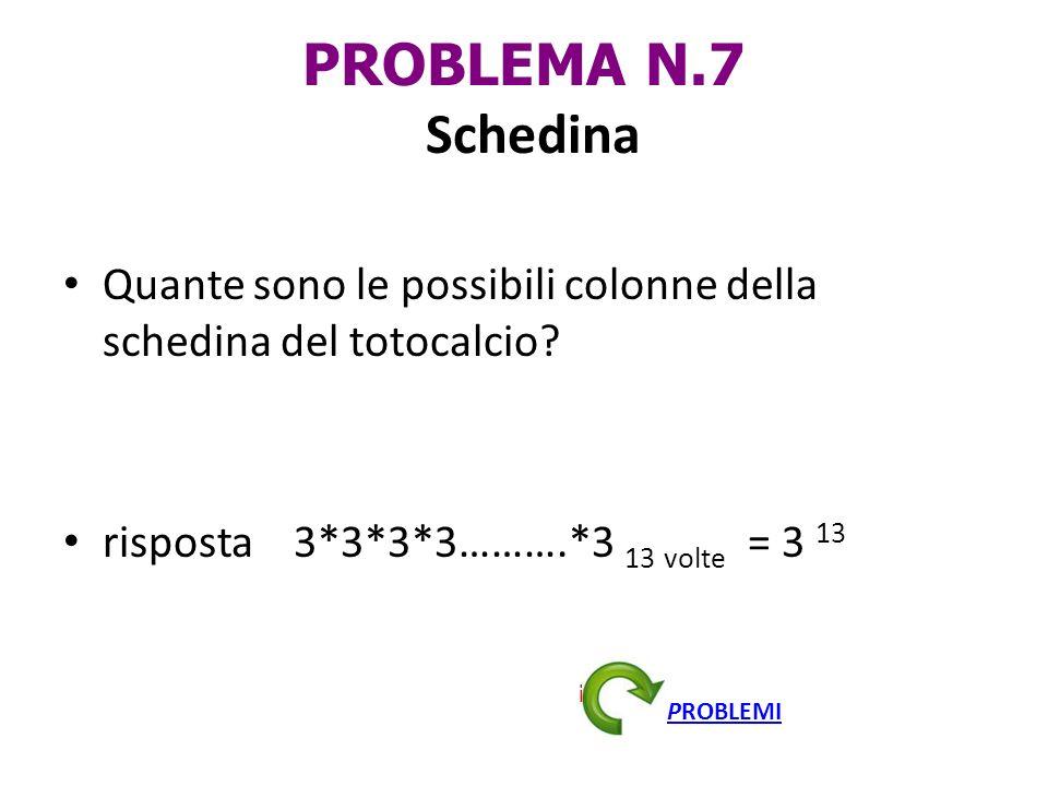 PROBLEMA N.7 Schedina Quante sono le possibili colonne della schedina del totocalcio? risposta 3*3*3*3……….*3 13 volte = 3 13 indietro PROBLEMI