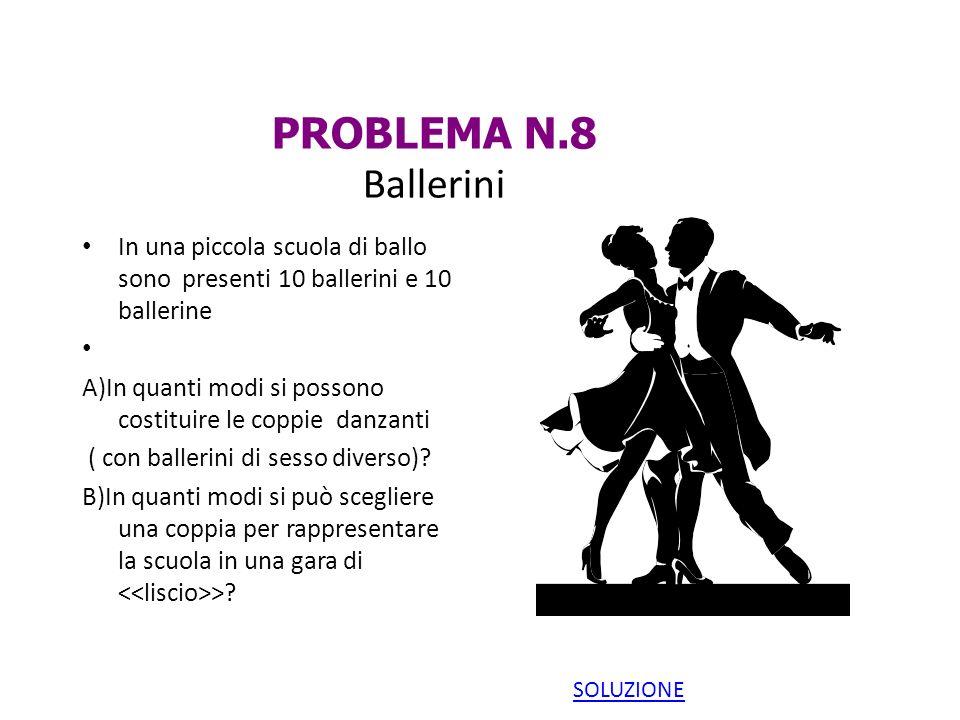 PROBLEMA N.8 Ballerini In una piccola scuola di ballo sono presenti 10 ballerini e 10 ballerine A)In quanti modi si possono costituire le coppie danza