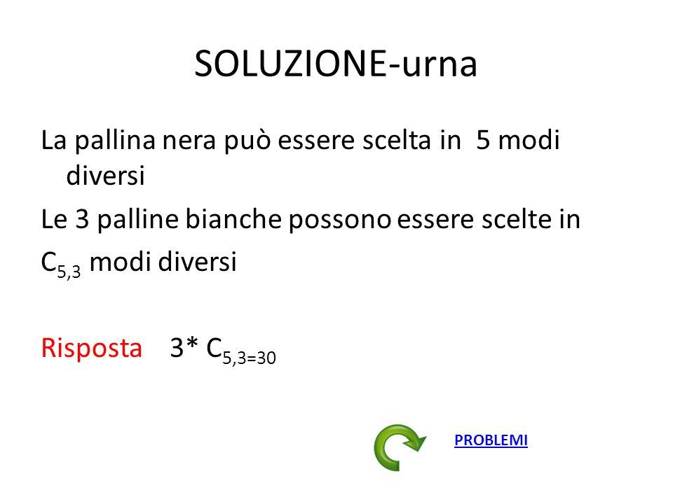SOLUZIONE-urna La pallina nera può essere scelta in 5 modi diversi Le 3 palline bianche possono essere scelte in C 5,3 modi diversi Risposta 3* C 5,3=