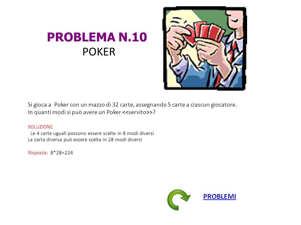 PROBLEMA N.10 POKER Si gioca a Poker con un mazzo di 32 carte, assegnando 5 carte a ciascun giocatore. In quanti modi si può avere un Poker >? SOLUZIO