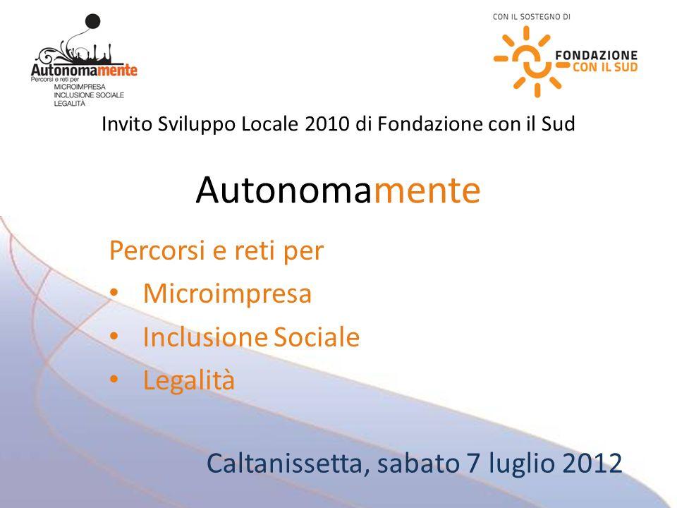 Invito Sviluppo Locale 2010 di Fondazione con il Sud Autonomamente Percorsi e reti per Microimpresa Inclusione Sociale Legalità Caltanissetta, sabato 7 luglio 2012