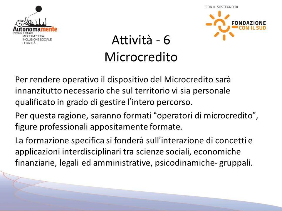Attività - 6 Microcredito Per rendere operativo il dispositivo del Microcredito sarà innanzitutto necessario che sul territorio vi sia personale qualificato in grado di gestire lintero percorso.