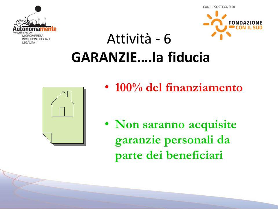 Attività - 6 GARANZIE….la fiducia 100% del finanziamento Non saranno acquisite garanzie personali da parte dei beneficiari