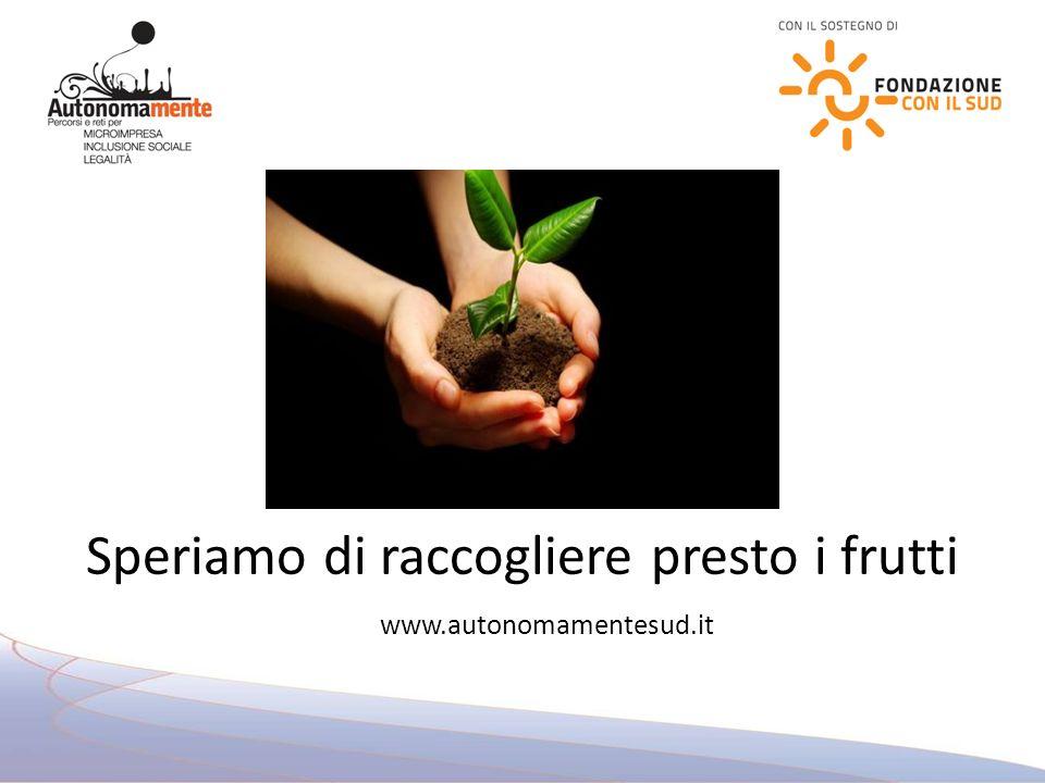 Speriamo di raccogliere presto i frutti www.autonomamentesud.it