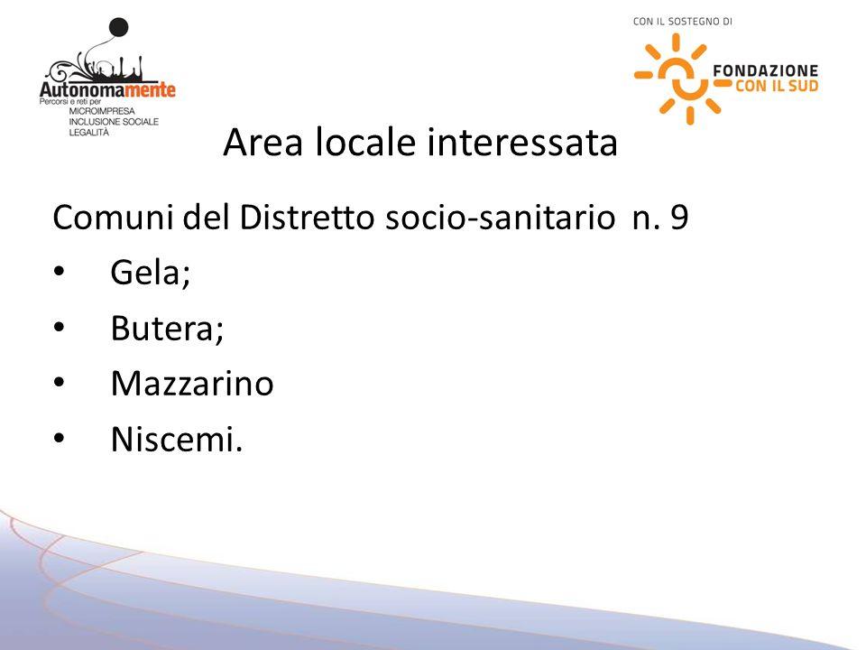 Comuni del Distretto socio-sanitario n. 9 Gela; Butera; Mazzarino Niscemi. Area locale interessata