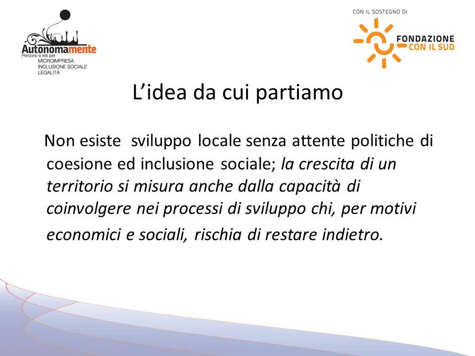 Lidea da cui partiamo Non esiste sviluppo locale senza attente politiche di coesione ed inclusione sociale; la crescita di un territorio si misura anche dalla capacità di coinvolgere nei processi di sviluppo chi, per motivi economici e sociali, rischia di restare indietro.