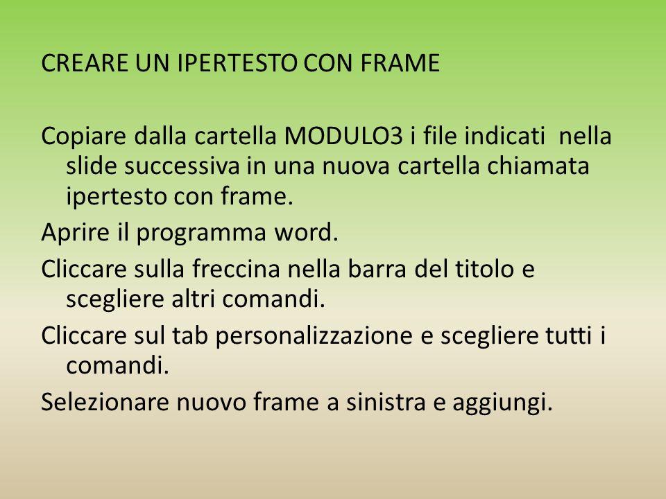 CREARE UN IPERTESTO CON FRAME Copiare dalla cartella MODULO3 i file indicati nella slide successiva in una nuova cartella chiamata ipertesto con frame