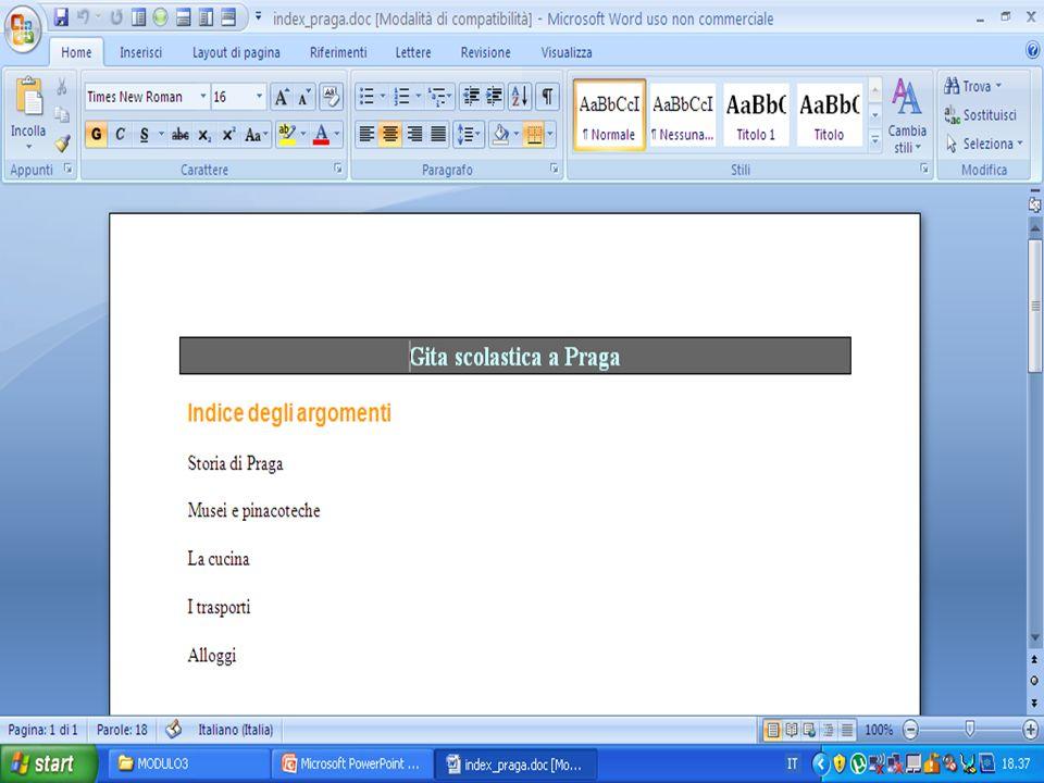 COME INSERIRE UNA IMMAGINE Aprire il file index_praga.doc nella cartella MODULO3.