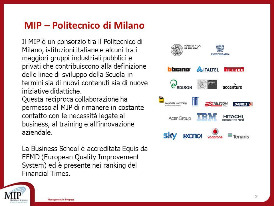 2 Il MIP è un consorzio tra il Politecnico di Milano, istituzioni italiane e alcuni tra i maggiori gruppi industriali pubblici e privati che contribui