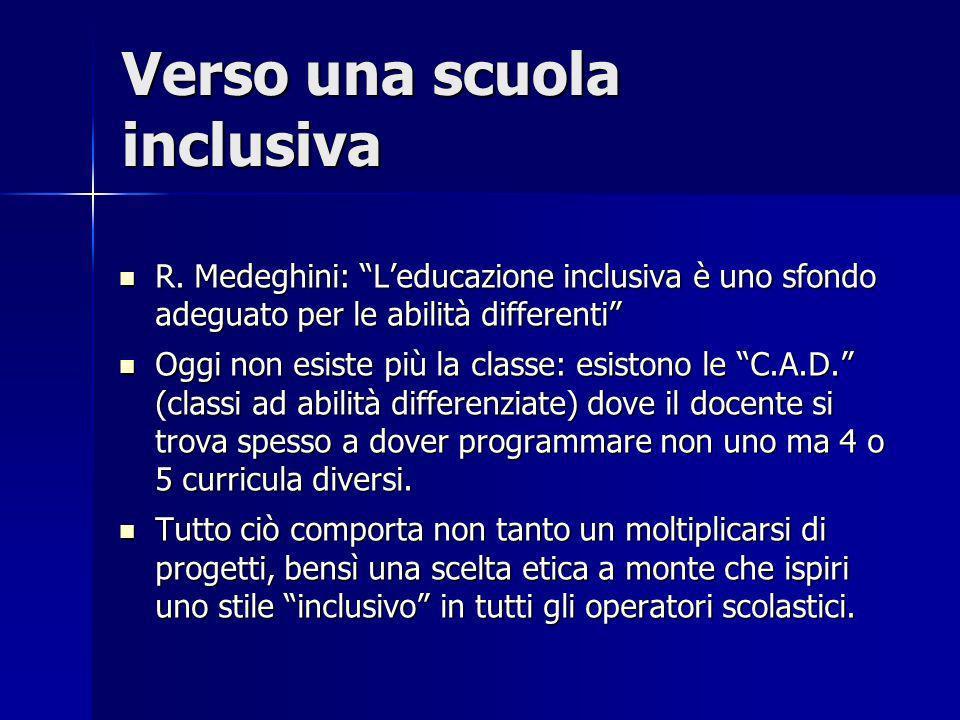 Verso una scuola inclusiva R. Medeghini: Leducazione inclusiva è uno sfondo adeguato per le abilità differenti R. Medeghini: Leducazione inclusiva è u