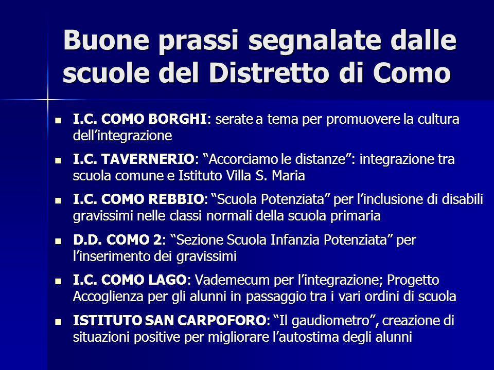 Buone prassi segnalate dalle scuole del Distretto di Como I.C. COMO BORGHI: serate a tema per promuovere la cultura dellintegrazione I.C. COMO BORGHI: