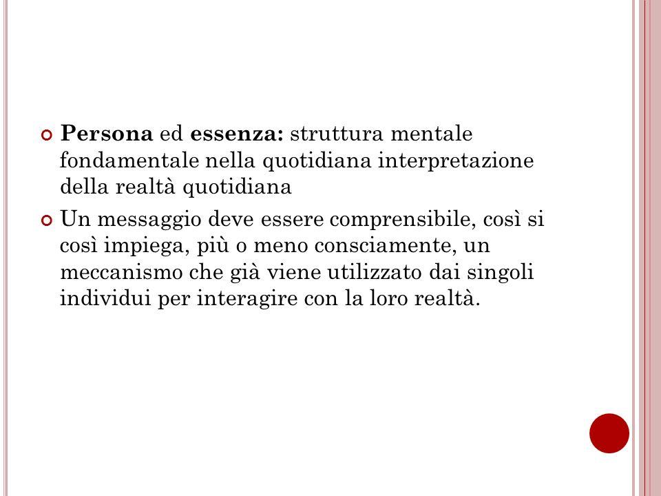 Persona ed essenza: struttura mentale fondamentale nella quotidiana interpretazione della realtà quotidiana Un messaggio deve essere comprensibile, co