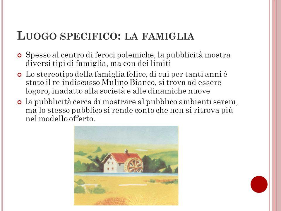 L UOGO SPECIFICO : LA FAMIGLIA Spesso al centro di feroci polemiche, la pubblicità mostra diversi tipi di famiglia, ma con dei limiti Lo stereotipo de