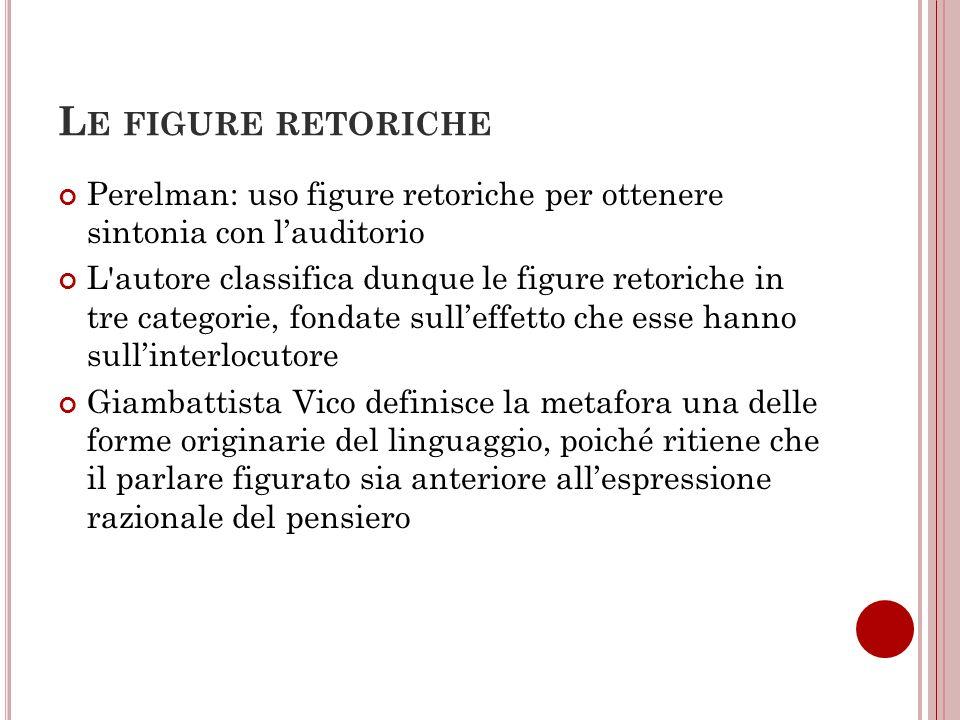 L E FIGURE RETORICHE Perelman: uso figure retoriche per ottenere sintonia con lauditorio L'autore classifica dunque le figure retoriche in tre categor