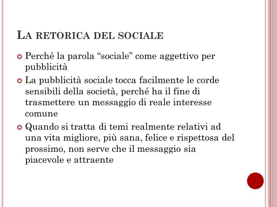 L A RETORICA DEL SOCIALE Perché la parola sociale come aggettivo per pubblicità La pubblicità sociale tocca facilmente le corde sensibili della societ