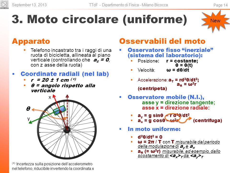 3. Moto circolare (uniforme) Apparato Telefono incastrato tra i raggi di una ruota di bicicletta, allineata al piano verticale (controllando che a z =