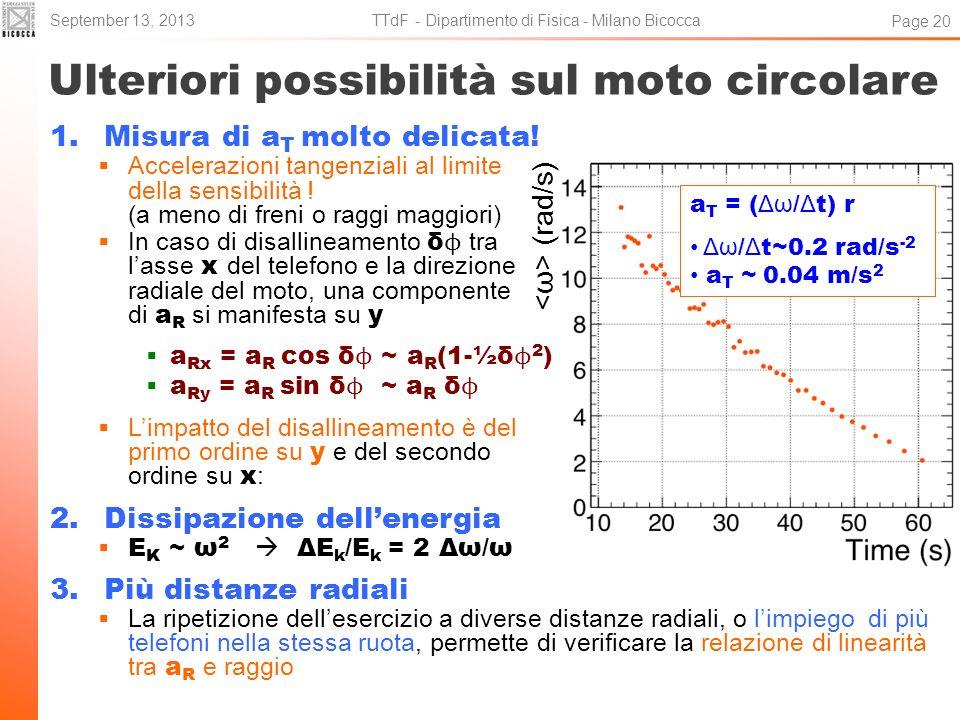 Ulteriori possibilità sul moto circolare 1.Misura di a T molto delicata! Accelerazioni tangenziali al limite della sensibilità ! (a meno di freni o ra