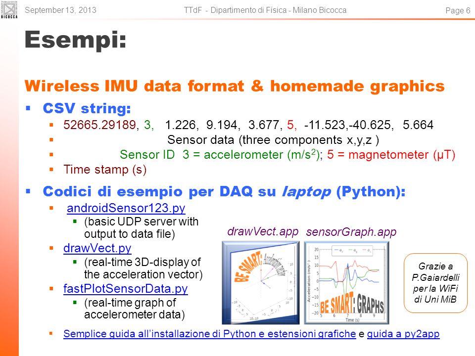 Esempi: Wireless IMU data format & homemade graphics CSV string: 52665.29189, 3, 1.226, 9.194, 3.677, 5, -11.523,-40.625, 5.664 Sensor data (three com