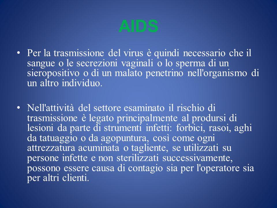 AIDS Per la trasmissione del virus è quindi necessario che il sangue o le secrezioni vaginali o lo sperma di un sieropositivo o di un malato penetrino