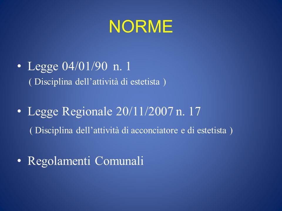 NORME Legge 04/01/90 n. 1 ( Disciplina dellattività di estetista ) Legge Regionale 20/11/2007 n. 17 ( Disciplina dellattività di acconciatore e di est