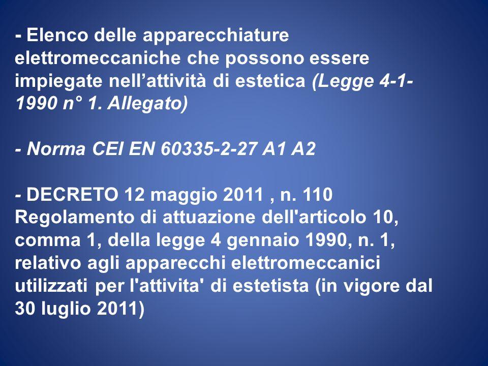 - Elenco delle apparecchiature elettromeccaniche che possono essere impiegate nellattività di estetica (Legge 4-1- 1990 n° 1. Allegato) - Norma CEI EN