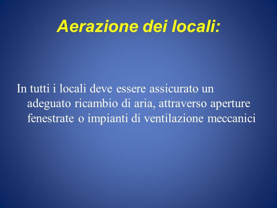 Aerazione dei locali: In tutti i locali deve essere assicurato un adeguato ricambio di aria, attraverso aperture fenestrate o impianti di ventilazione