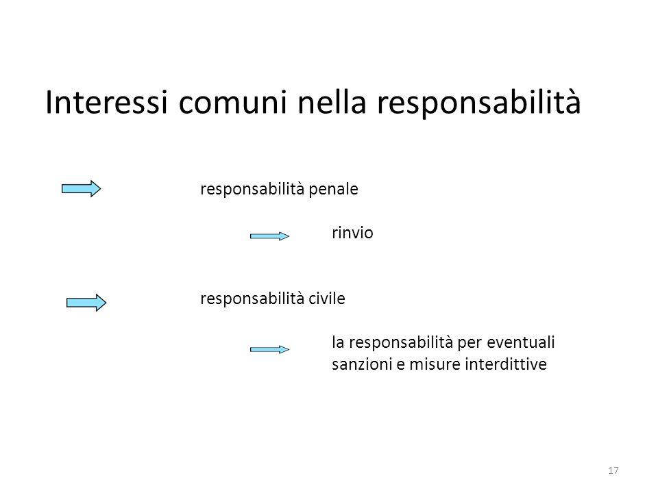 responsabilità penale rinvio responsabilità civile la responsabilità per eventuali sanzioni e misure interdittive Interessi comuni nella responsabilit