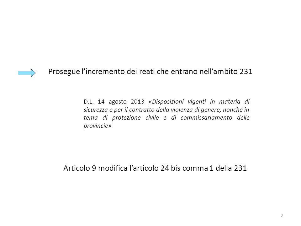 2 Prosegue lincremento dei reati che entrano nellambito 231 Articolo 9 modifica larticolo 24 bis comma 1 della 231 D.L. 14 agosto 2013 «Disposizioni v
