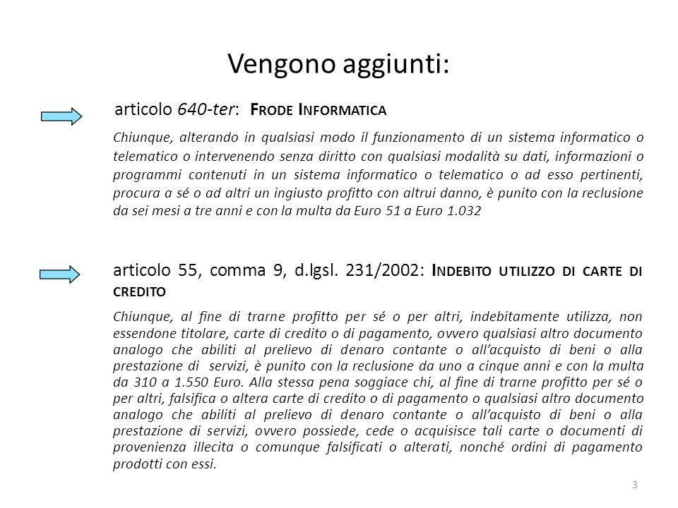 Vengono aggiunti: articolo 640-ter: F RODE I NFORMATICA Chiunque, alterando in qualsiasi modo il funzionamento di un sistema informatico o telematico