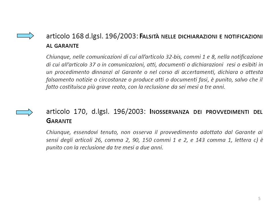 articolo 168 d.lgsl. 196/2003: F ALSITÀ NELLE DICHIARAZIONI E NOTIFICAZIONI AL GARANTE Chiunque, nelle comunicazioni di cui allarticolo 32-bis, commi