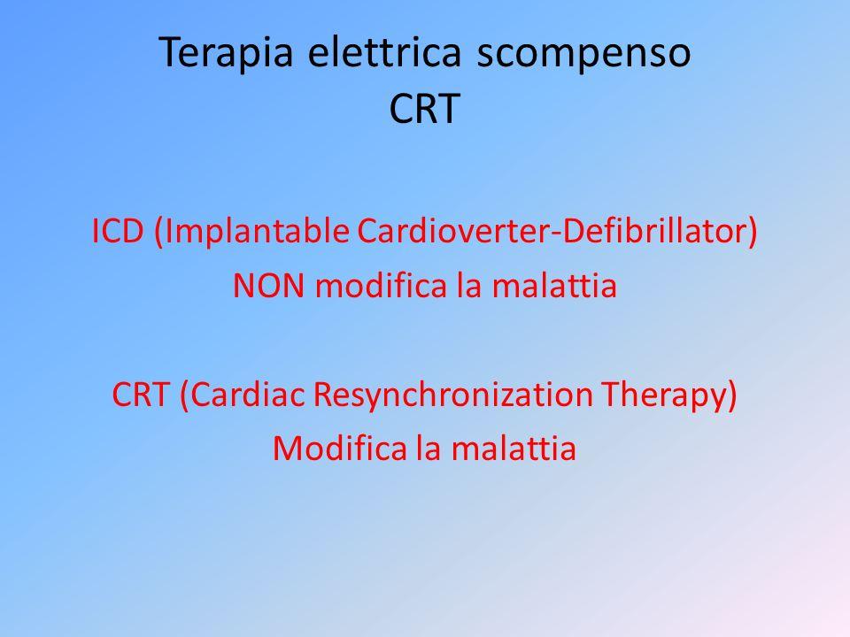 Terapia elettrica scompenso CRT ICD (Implantable Cardioverter-Defibrillator) NON modifica la malattia CRT (Cardiac Resynchronization Therapy) Modifica