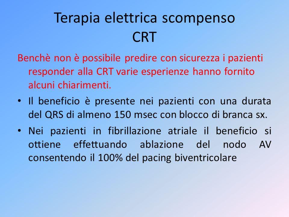 Terapia elettrica scompenso CRT Benchè non è possibile predire con sicurezza i pazienti responder alla CRT varie esperienze hanno fornito alcuni chiar