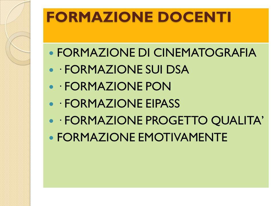 FORMAZIONE DOCENTI FORMAZIONE DI CINEMATOGRAFIA · FORMAZIONE SUI DSA · FORMAZIONE PON · FORMAZIONE EIPASS · FORMAZIONE PROGETTO QUALITA FORMAZIONE EMO