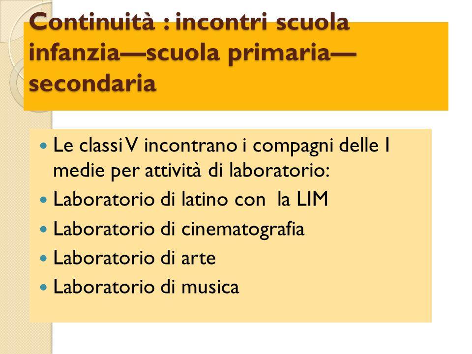 Continuità : incontri scuola infanziascuola primaria secondaria Le classi V incontrano i compagni delle I medie per attività di laboratorio: Laborator