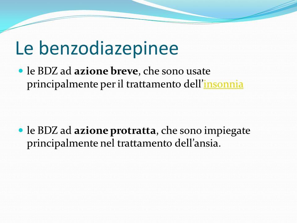Le benzodiazepinee le BDZ ad azione breve, che sono usate principalmente per il trattamento dellinsonniainsonnia le BDZ ad azione protratta, che sono